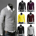 Men Casual Slim Fit V-neck Knitted Cardigan Pullover Jumper Sweater Tops Hot