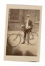 EDWARDIAN MAN WITH BICYCLE . OLD REAL PHOTO POSTCARD