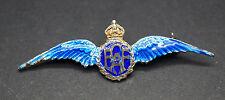 "Vintage WWII Royal Canadian Airforce Sterling Silver Enamel Brooch 2"" Long"