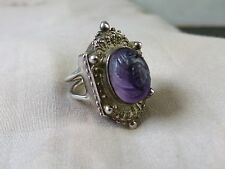 Outstanding Sterling Silver Carved Amethyst Ring. Size 5,5