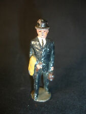 Old Vtg Lead Toy Business Man Walking With Coat And Briefcase Made In England