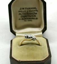 Vintage 18ct Gold And platinum Three Stone Diamond Twist Ring In Bakelite Box