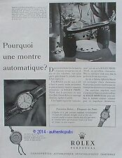PUBLICITE ROLEX PERPETUAL MONTRE CHRONOMETRE DE 1952 FRENCH AD ADVERT PUB RARE