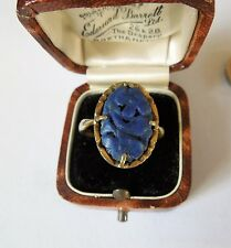 Vintage Carved Lapis Lazuli Silver Gilt Ring, Large Size