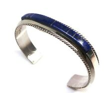 Navajo Lapis Inlay Sterling Silver Cuff Bracelet - Fran Yazzie