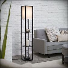 FLOOR LAMP LIGHT MODERN WHITE SHADE TOWER SHELVES LIVING ROOM BEDROOM LIGHTING