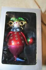 HAND BLOWN JESTER CLOWN CHRISTMAS TREE ORNAMENT FIGURAL LARGE