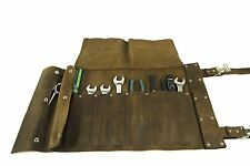 Brown Leather  Motorcycle Roll Up Tool Bag