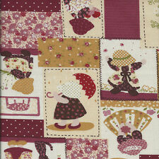 Fat Quarter Sunbonnet Sue Linen Look Cotton Quilting Fabric-50 x 55cm - Wine Red