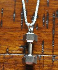Dumbbell Pendant Charm Gym Bodybuilding Muscle Crossfit Silver Chain Necklace