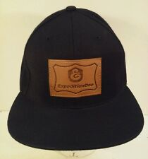 Expedition One Leather Patch Black Snapback Hat Cap Skateboard Kayo
