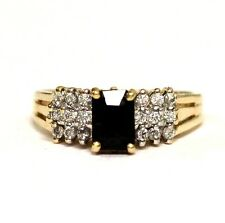 14k yellow gold .27ct SI1 H women's diamond sapphire ring 4.1g ladies estate