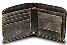 Visconti 702 Distressed Brown Leather Mens Zip Round Wallet Case Holder Gift Box