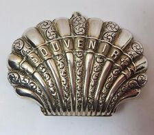 "ANTIQUE FRENCH SILVER CLAM SHELL ""SOUVENIR"" PURSE SILK INTERIOR c1900 40gms"