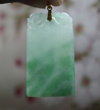 "G18K Certified Natural ""A"" Gorgeous Icy Apple Green JADE Safety Dragon Pendant"