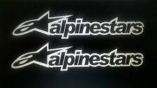 Alpinestars  stickers x2  Rally Race motocross karting 18cm wide 4cm tall white