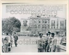 1972 Press Photo Mao Zedong Poster Unknown Street Building 1970s Beijing China