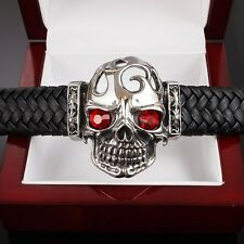 MASSIVE HEAVY REAL Leather 316L Stainless Steel Bracelet Men Skull Goth Biker 22