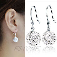 Silver Plated Layered Shamballa Disco Ball Paive Drop Earrings New