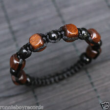 Brown Red Cube Black Wooden Beads Adjustable Shamballa Boho Bracelet Men Women