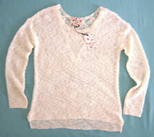 HIPPIE ROSE women 's sweater top size L / M off-white lace insert back NWOT