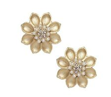Super cute gold plated pearl crystal flower earrings