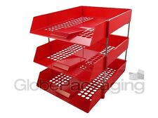 3 x RED IN/OUT LETTER FILING TRAYS + RISERS (1 COMPLETE SET)