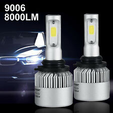 9006 HB4 COB LED Headlight Kit Bulbs 8000LM 80W 6500K Super White 2pcs Turbo Fan