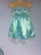 aqua satin dress adult baby fancy dress sissy french maid cosplay chest 36-52