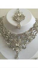 Wedding Jewellery Set Earrings Necklace Tikka Bollywood Indian Costume Silver