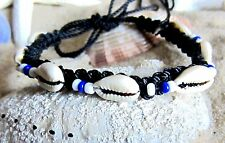 BRACELET ANKLET BLACK CORD COWRIE SHELL BLUE BEADS ADJUSTABLE BEACH FASHION NEW