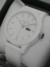 Designer Lacoste Mens 12.12 Polo 2010762 White Silicone Strap Watch NEW RRP179