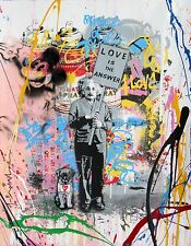 "ALBERT EINSTEIN ""LOVE IS THE ANSWER"" BANKSY MR BRAIN IMAGE A4 POSTER LAMINATED"