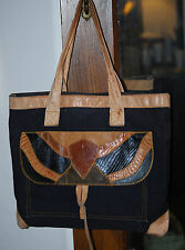 HURST & MOONEY NY black canvas leather lizard skin tote satchel carryall purse
