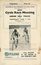 CATFORD & POLYTECHNIC CC TRACK CYCLE RACE MEETING 7 Jun 1939 PROGRAMME