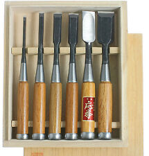 Oire Nomi Japanese Bench Chisel Set Carpenters Chisels 6pc Set in Wooden Box
