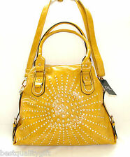 NEW-DS YELLOW GLOSS LEATHERETTE+CRYSTAL+GOLD STUDS SATCHEL,PURSE,BAG+CROSSBODY