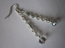 Long Drop / Dangle Earrings - Clear AB Crystals - Silver Plated