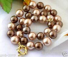 Natural AAA 8mm Coffee Champagne South Sea Shell Pearl Necklace 18""