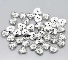 25 Silver Plated, Crystal Heart Shape Acrylic Sewing Buttons 12mm