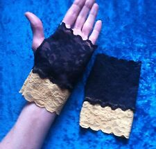 Black gold lacy mittens stretch Whitby goth gloves cuffs steampunk evening glam
