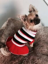 Chihuahua Size XSmall Red & White, Black Stripy Dog Knitted Jumper Dress