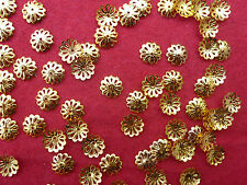 1 Hole 8mm Jewellery Making Gold Plated Flower Bead Cap.... 250 Pcs..
