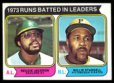 1974 TOPPS  BASEBALL 203 REGGIE JACKSON & WILLIE STARGELL NM RBI LEADERS FR SHIP