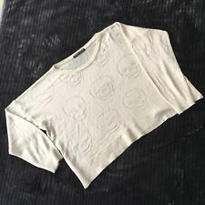 One Size Beige Brandy Melville Italy Wool Mix Crop Skull  Knit Sweater Top