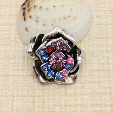 NEW Rhinestone Colorful Charm Chunk Snap Button fit for Noosa Bracelet KOE16