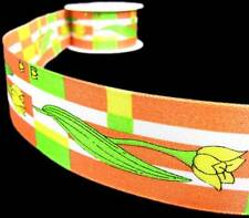 "3 Yd Yellow Tulips Orange Made in Poland Ribbon 1 5/8""W"