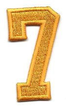 "NUMBERS-Golden Yellow Number ""7"" (1 7/8"") - Iron On Embroidered Applique/Numbers"