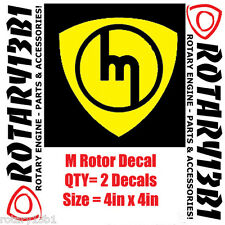 ROTOR DECALS STICKER ROTARY ENGINE RX7 RX2 RX8 REPU WANKEL POWER YELLOW 2pc
