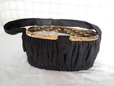 Lovely vintage K & C Charlet 1950's black box purse handbag carved lucite top